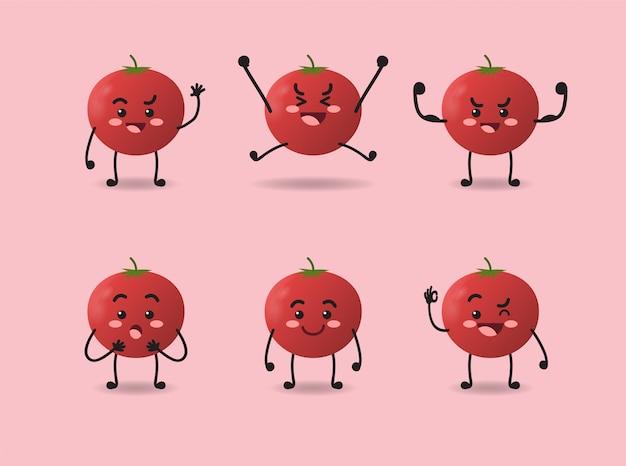 Conjunto de diseño lindo de expresión de tomate