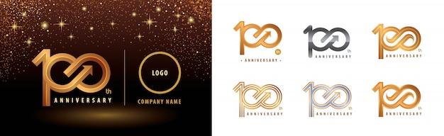 Conjunto de diseño de logotipo de 100 aniversario, celebración de aniversario de cien años
