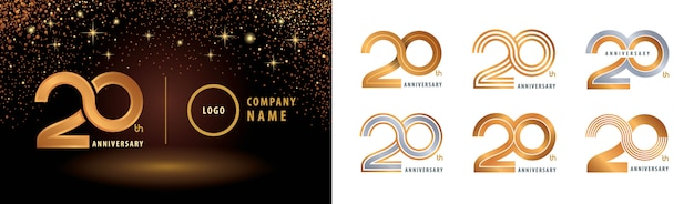 Conjunto de diseño de logotipo del 20 aniversario, celebración del aniversario de veinte años