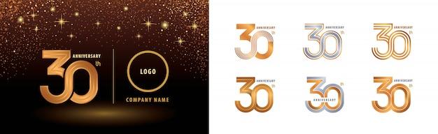 Conjunto de diseño de logotipo de 30 aniversario, celebración de aniversario de treinta años