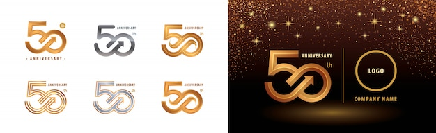 Conjunto de diseño de logotipo de 50 aniversario, celebración de aniversario de cincuenta años