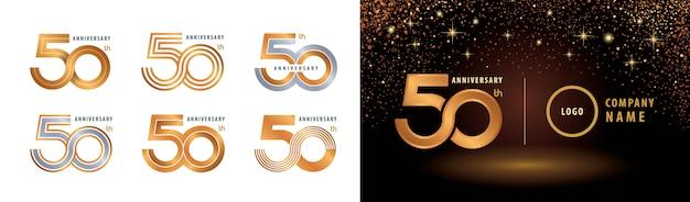 Conjunto de diseño de logotipo de 50 aniversario