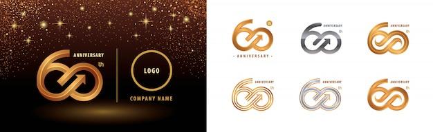 Conjunto de diseño de logotipo de 60 aniversario, celebración de aniversario de sesenta años