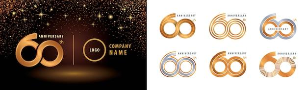 Conjunto de diseño de logotipo del 60 aniversario