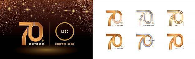 Conjunto de diseño de logotipo de 70 aniversario, celebración de aniversario de setenta años