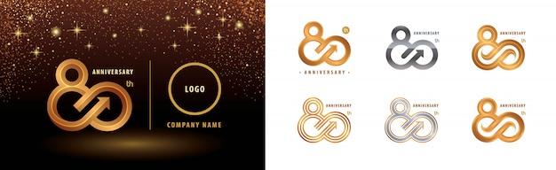 Conjunto de diseño de logotipo de 80 aniversario, celebración de aniversario de ochenta años