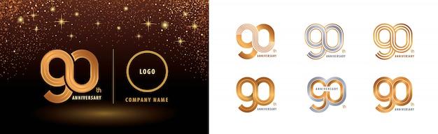 Conjunto de diseño de logotipo de 90 aniversario, celebración de aniversario de noventa años