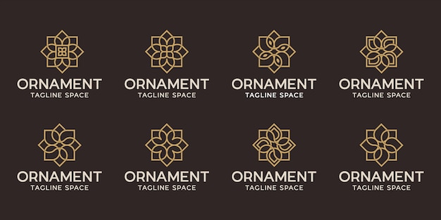 Conjunto de diseño de logotipo de adorno. línea de logo de flor negra y dorada