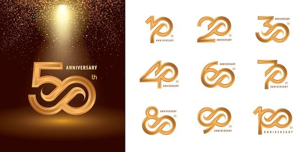 Conjunto de diseño de logotipo de aniversario de 10 a 100, logotipo de años celebrar aniversario