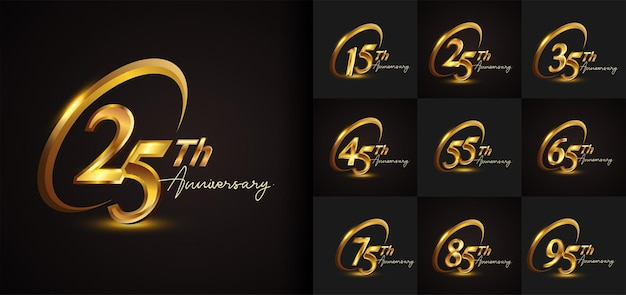 Conjunto de diseño de logotipo de aniversario con anillo dorado y escritura en color dorado para eventos de celebración, bodas, tarjetas de felicitación e invitaciones. ilustración vectorial.