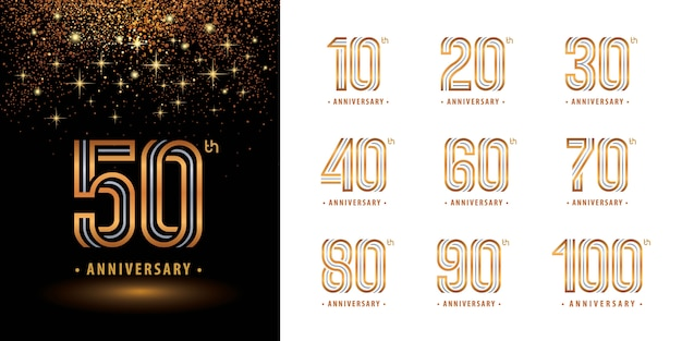 Conjunto de diseño de logotipo de aniversario, logotipo de celebrar aniversario