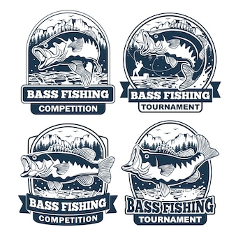 Conjunto de diseño de logotipo bass fishing