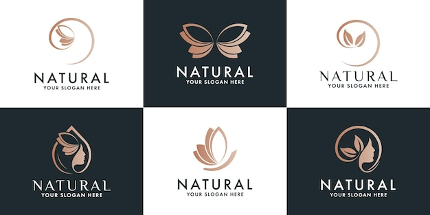 Conjunto de diseño de logotipo de belleza de lujo y logotipo de bienestar.