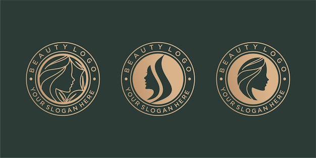Conjunto de diseño de logotipo de belleza vintage