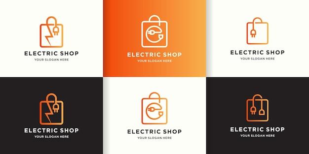 Conjunto de diseño de logotipo de bolsa de compras eléctrica