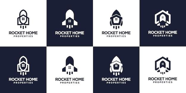 Conjunto de diseño de logotipo de casa cohete