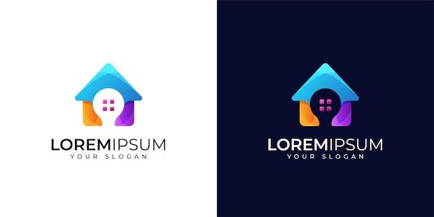 Conjunto de diseño de logotipo de casa inteligente