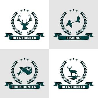 Conjunto de diseño de logotipo de caza de animales.