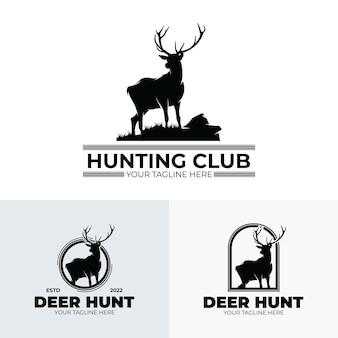 Conjunto de diseño de logotipo de club de caza de ciervos