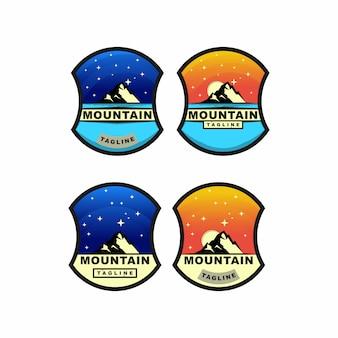 Conjunto de diseño de logotipo colorido mountain adventure and stars badge