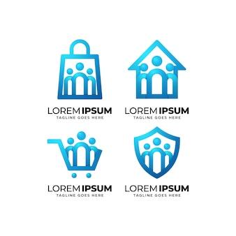 Conjunto de diseño de logotipo de comunidad de personas