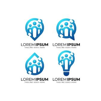 Conjunto de diseño de logotipo de comunidad de reparación y mantenimiento.
