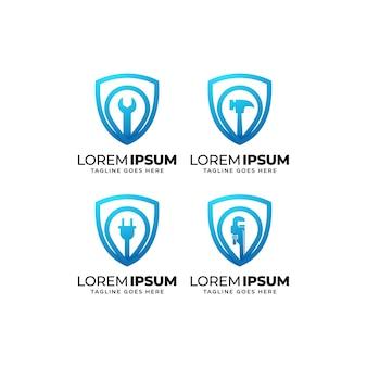 Conjunto de diseño de logotipo de construcción de edificios