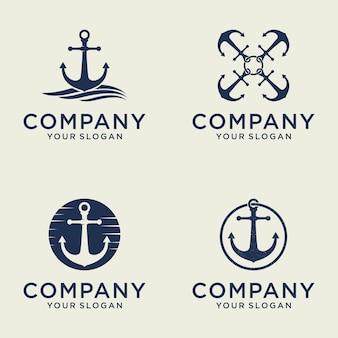 Conjunto de diseño de logotipo creativo de ancla náutica marina y marina