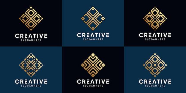 Conjunto de diseño de logotipo creativo para empresa comercial con estilo de arte lineal y concepto moderno