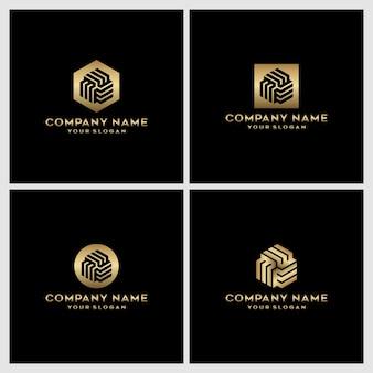 Conjunto de diseño de logotipo creativo monograma letra m
