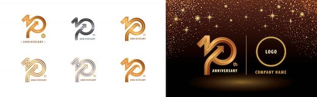 Conjunto de diseño de logotipo de décimo aniversario, celebración de aniversario de diez años
