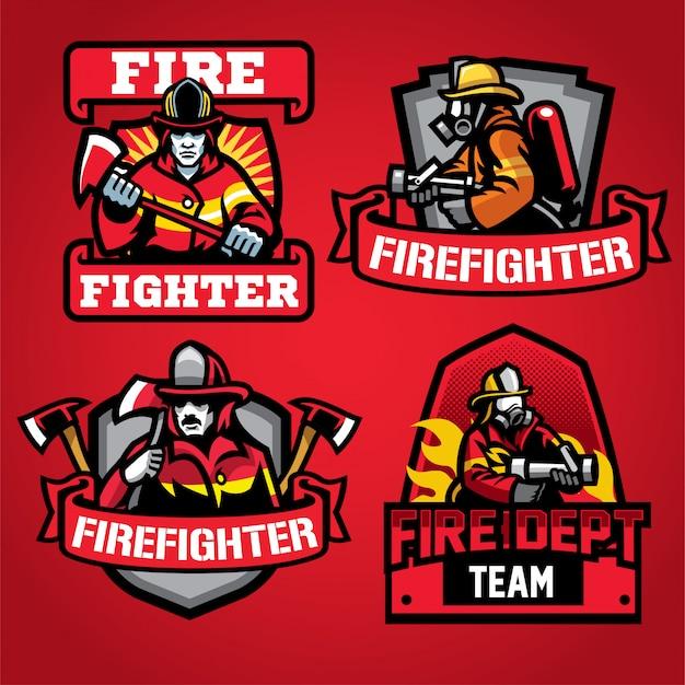 Conjunto de diseño de logotipo del departamento de bomberos