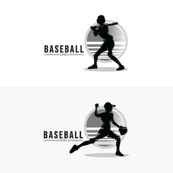 Conjunto de diseño de logotipo de deporte de béisbol