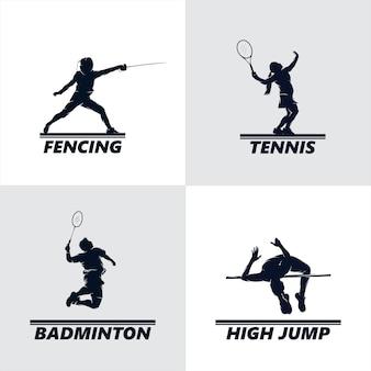 Conjunto de diseño de logotipo deportivo