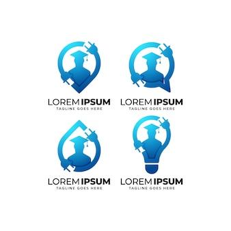 Conjunto de diseño de logotipo de educación eléctrica