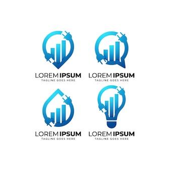 Conjunto de diseño de logotipo de estadísticas de electricidad
