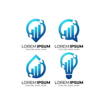Conjunto de diseño de logotipo de estadísticas de reparación y mantenimiento