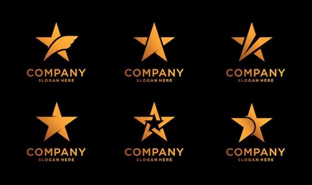 Conjunto de diseño de logotipo de estrellas de lujo