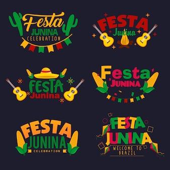 Conjunto de diseño de logotipo festa junina