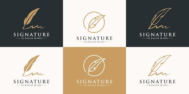 Conjunto de diseño de logotipo de firma de pluma dorada