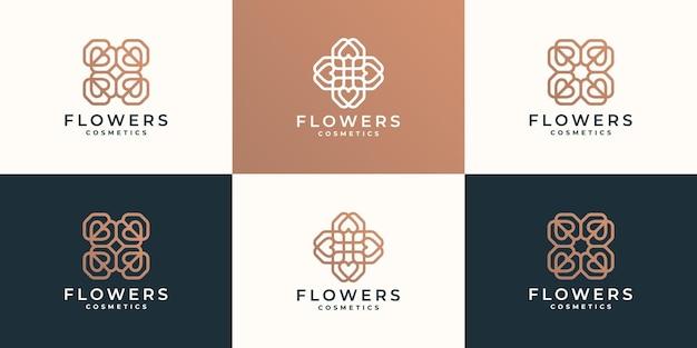 Conjunto de diseño de logotipo de flor de arte lineal