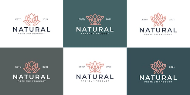 Conjunto de diseño de logotipo de flor de belleza de arte de línea de lujo