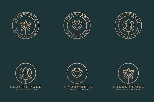 Conjunto de diseño de logotipo de flor rosa de lujo con estilo de arte lineal