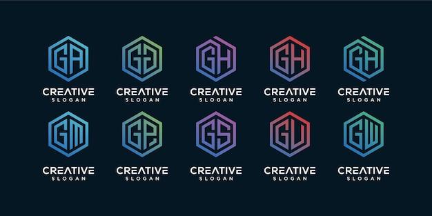 Conjunto de diseño de logotipo geométrico.