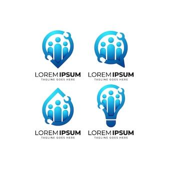 Conjunto de diseño de logotipo de grupo de reparación y mantenimiento