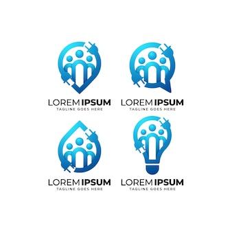 Conjunto de diseño de logotipo de grupo de servicio eléctrico