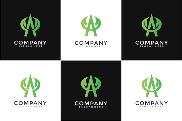 Un conjunto de diseño de logotipo de hoja de letra