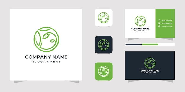 Conjunto de diseño de logotipo de hoja y tarjeta de visita