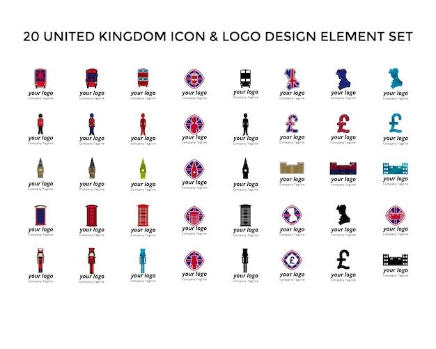 Conjunto de diseño de logotipo de icono de reino unido