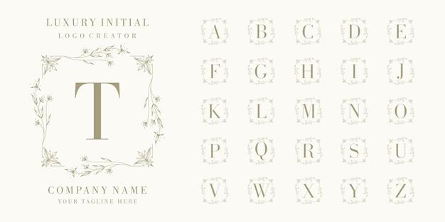 Conjunto de diseño de logotipo de insignia inicial de lujo